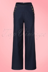40s Samantha Trousers in Denim Blue
