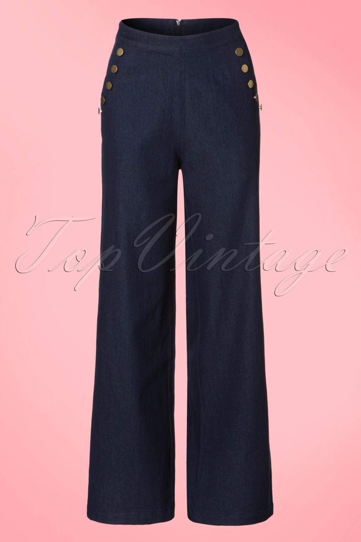 1940s Style Pants & Overalls- Wide Leg, High Waist 40s Samantha Trousers in Denim Blue £52.49 AT vintagedancer.com