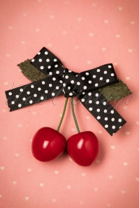 50s Hamilton Cherry Hair Clip in Black