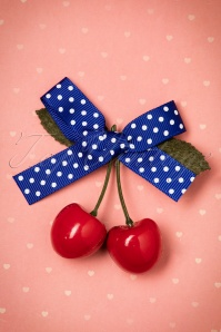50s Hamilton Cherry Hair Clip in Blue