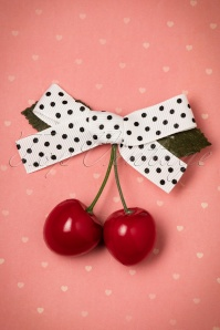 50s Hamilton Cherry Hair Clip in White