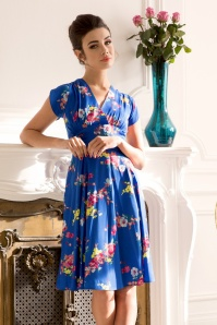 50s Amber Floral Dress in Electric Blue