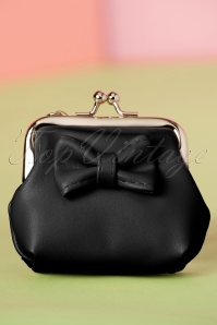 50s Sienna Bow Small Wallet in Black