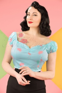 50s Time Lapse Flamingo Top in Light Blue