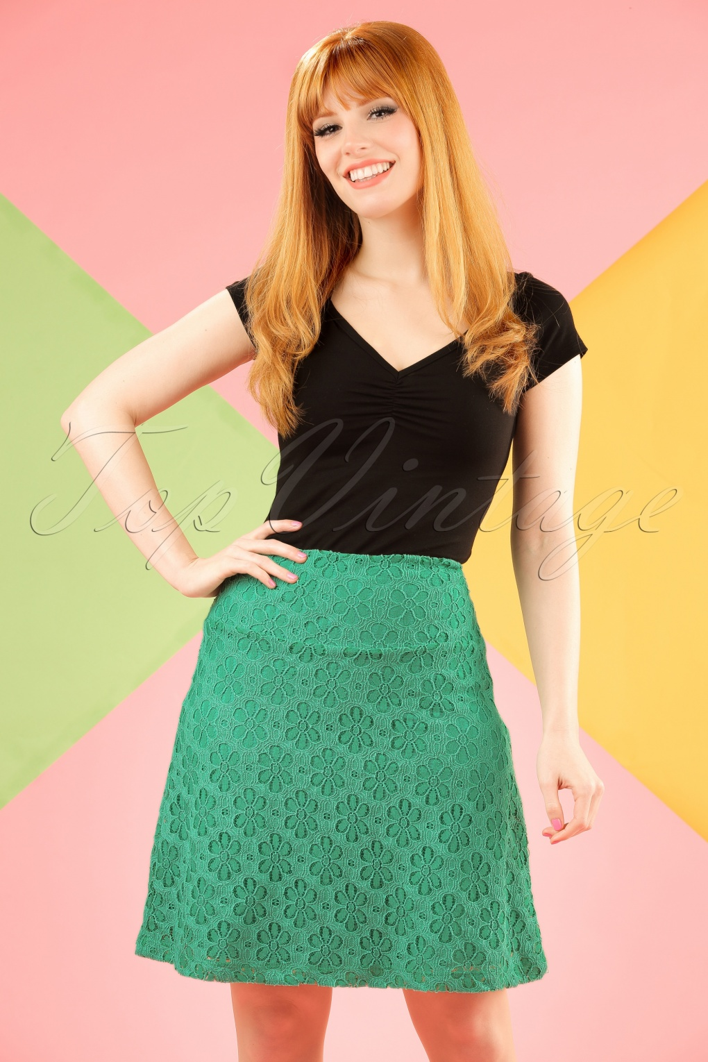 Retro Skirts: Vintage, Pencil, Circle, & Plus Sizes 60s Flower Lace Borderskirt in Opal Green £59.41 AT vintagedancer.com