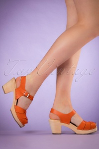60s Loretta Leather Clogs in Orange