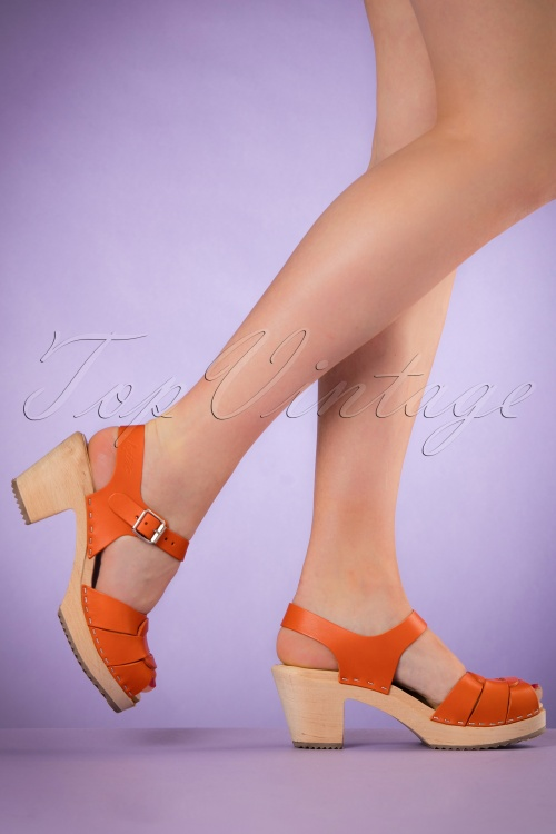 Lotta from Stockholm High heel Peep Toe Clogs Orange 421 21 20976 03082017 010W
