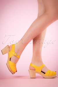 Loretta Leather Clogs Années 60 en Jaune