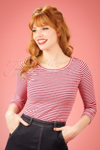 50s Martina Thin Stripe Boat Neck T-shirt in Red