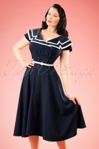 50s Captain Flare Dress in Navy