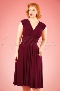 Vintage Chic V Neck Wine Red Dress 102 20 19593 20160902 0007 W