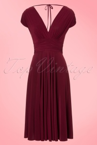 Vintage Chic V Neck Wine Red Dress 102 20 19593 20160902 0006W