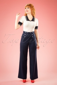 40s Stay Awhile Trousers in Navy