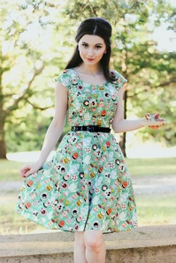 50s Mad Tea Party Dress in Green