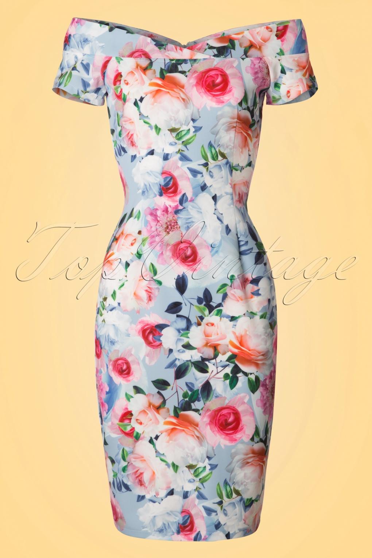 Wiggle Dresses 50s Bardot Rose Pencil Dress in Light Blue £63.58 AT vintagedancer.com