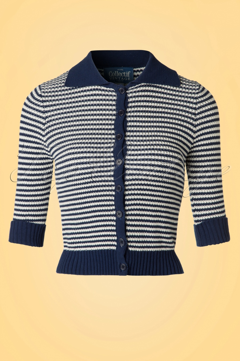 1940s Sweater Styles 50s Orchid Striped Cardigan in Navy and Ivory £52.64 AT vintagedancer.com
