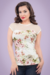 50s Vera Blush Floral Top in Ivory
