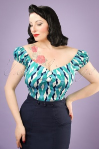 Collectif Clothing Dolores Atomic Harlequin Top in Blue 20672 20121224 01W