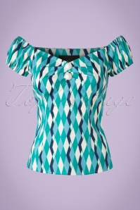 Collectif Clothing Dolores Atomic Harlequin Top Blue 20672 20161201 0005W