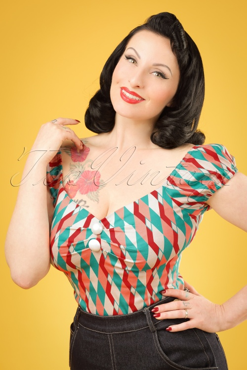 Collectif Clothing Dolores Atomic Harlequin Top Red 20673 20161201 1W