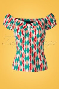 Collectif Clothing Dolores Atomic Harlequin Top Red 20673 20161201 0001W