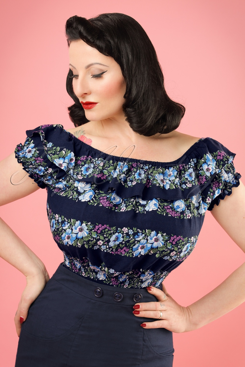 1940s Blouses and Tops 50s Bebe Folk Floral Gypsy Top in Navy £21.94 AT vintagedancer.com