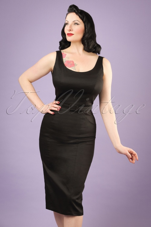 b01abdc5f30987 Collectif Clothing Ines Plain Pencil Dress in Black 20819 20121224 01W