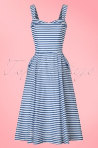 50s Pippa Striped Dress in Blue and White