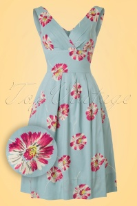50s Lillian Floating Daisies Dress in Dusty Blue
