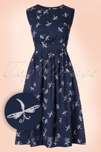 50s Lucy Long Dragonfly Dress in Midnight Blue