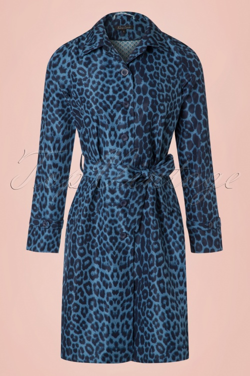 King Louie Lizzy Blue Leopard Print Coat 151 39 20277 20170315 0004w
