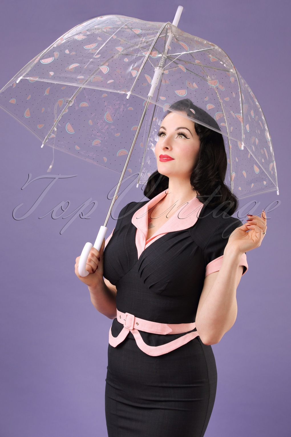 Vintage Style Parasols and Umbrellas 60s My Sweet Watermelon Transparent Dome Umbrella in White £15.70 AT vintagedancer.com