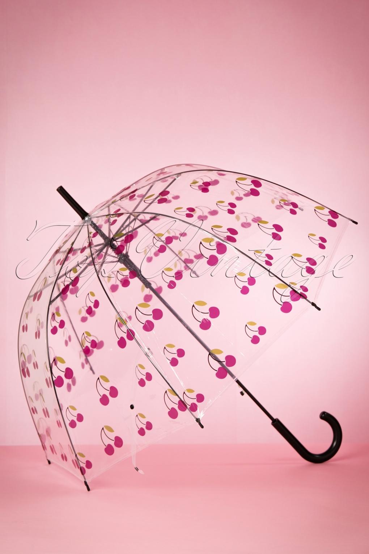 Vintage Style Parasols and Umbrellas 60s My Sweet Cherry Transparent Dome Umbrella in Black £15.08 AT vintagedancer.com