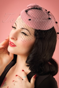 50s Marilyn Fascinator in Pink