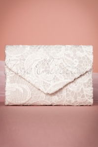 30s Elegant Lace Evening Clutch in Ivory