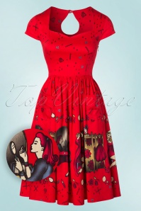 50s Vanity Swing Dress in Bright Red