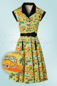 50s Starlight Swing Dress in Lime Green