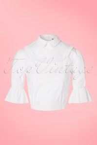 50s Lotus Blouse in White