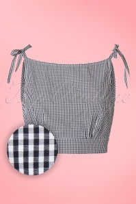 50s Fusion Gingham Top in Black