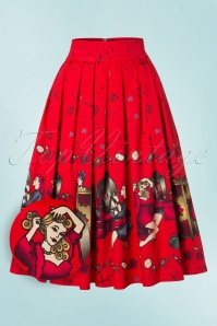 50s Vanity Swing Skirt in Bright Red