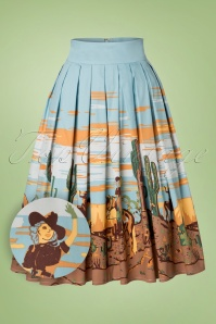 50s Magical Day Swing Skirt in Light Blue