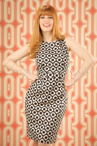 60s Retro Floral Pencil Dress in Black and Cream