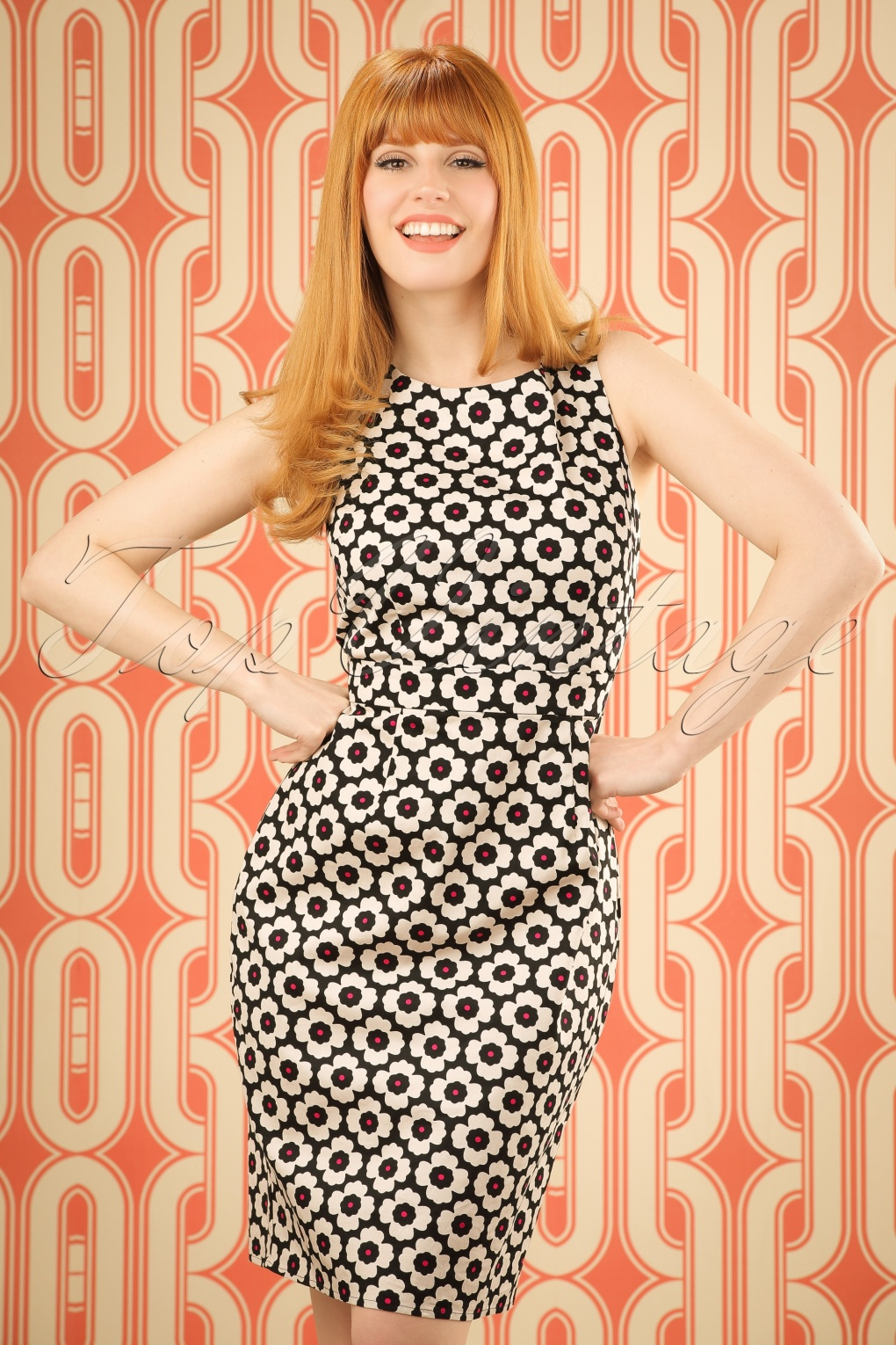 1960s Style Dresses- Retro Inspired Fashion 60s Retro Floral Pencil Dress in Black and Cream £65.41 AT vintagedancer.com