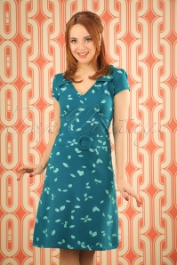 60s Chloe Dragonfly Dress in Petrol Blue