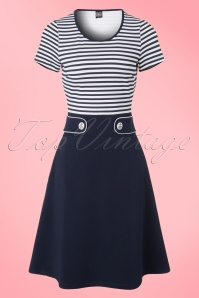 60s Isla Stripes Dress in Navy