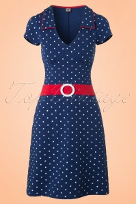Mademoiselle Yeye Chloe Dress in Navy Dots 19876 20161116 0005W