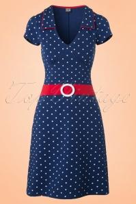 Mademoiselle Yeye Chloe Dress in Navy Dots 19876 20161116 0005W
