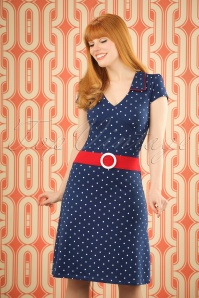 Mademoiselle Yeye Chloe Dress in Navy Dots 19876 20161116 001W