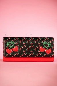 50s Fierceness Cherry Clutch in Black and Red