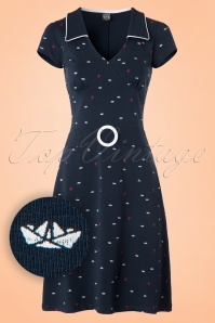 Mademoiselle Yeye Chloe Dress in Navy Seaside 19877 20161116 0003W1